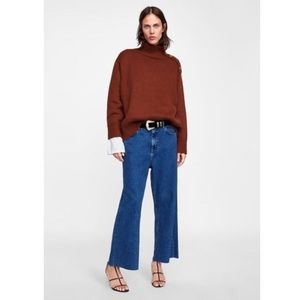 Zara Rust Mock Neck Sweater